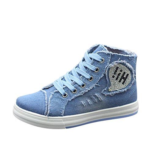Dear Time Women High Top Espadrille Shoes Light Blue US 8.5