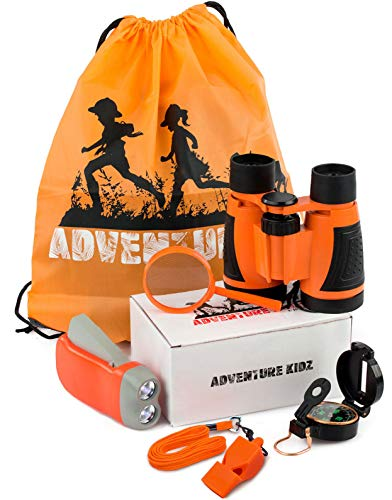 Adventure Kidz - Outdoor Exploration Kit, Children's Toy Binoculars, Flashlight, Compass, Whistle, Magnifying Glass, Backpack. Great Kids Gift Set for Camping, Hiking, Educational and Pretend -