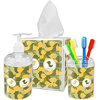 yellow bathroom accessories. Rubber Duckie Camo Bathroom Accessories Set  Personalized Amazon com