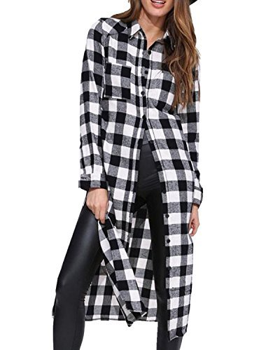 ZANZEA Women Blouses Tops Buffalo Check Plaid Long Sleeve Collar Neck Casual Button Down Shirts (10, Black 719261) ()
