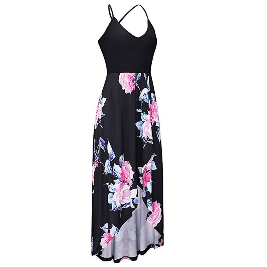 Fashion Sleeveless Sexy Backless Irregular Skirt Summer Casual Dresses Printed Halter Dress for Women's (M, Black) by S&S-women (Image #3)