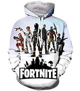 Fortnite 3D hoodie CosplayLife Fnite Hoodie Novelty Halloween Sweater 3D Print Sublimation Design Fleece Pullover with Pocket-XL
