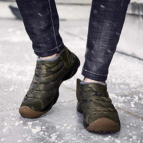 Mens Camouflage Slip-on Ankle Boots Fully Fur Lined Snow Boots Winter Warm Cotton Shoes by Weweya (Image #6)