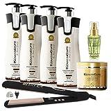 Keratin Cure Brazilian Bio Chocolate 7 Piece Kit Professional Complex Coconut Argan Oil Aminos Blow Out Hair Treatment Formaldehyde Free (960ml/32 fl oz) For Sale