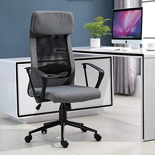 ZXL Mesh kontorsstol, andningsbar hem kontor stol verkställande höjd justerbar rullande svängbar stol med lutningsfunktion PU