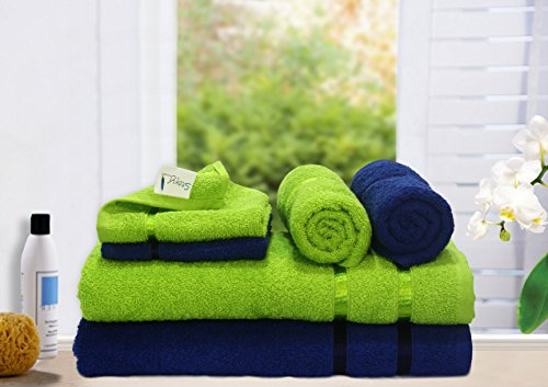 Story@Home 6 Piece 450 GSM Cotton Towel Set – Navy and Lime