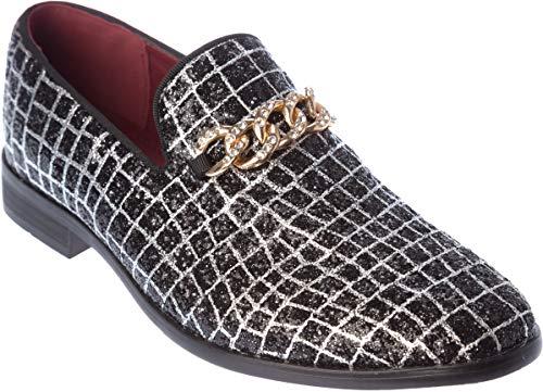 - sparko20 Mens Slip-On Fashion-Loafer Sparkling-Glitter Black Dress-Shoes Size 9.5