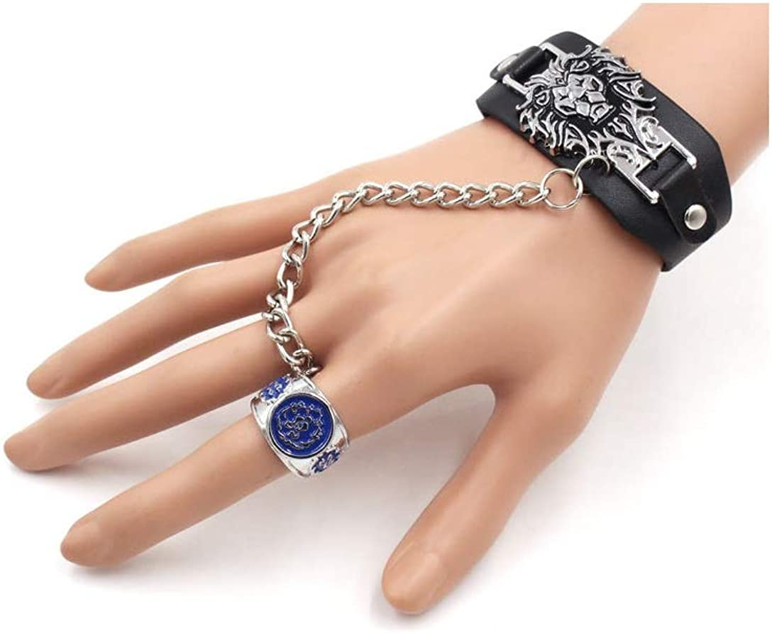 Warchief WOW Alliance LOGO Bracelet and Ring fit Cosplay and Party