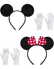 Balinco Doppelpack mit Maus Haarreifen / Maus Ohren mit roter Schleife und weißen Punkten & Maus Ohren in schwarz inklusive 2 Paar weiße Handschuhe für Kinder & Erwachsene