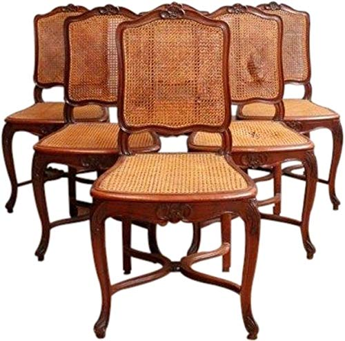 (EuroLuxHome 1930 Vintage Rococo Dining Chairs Set 6 Louis XV Flower Carved Walnut Cane)