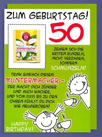 50 Geburtstag Karte.Xxl Karte Din A4 Zum Geburtstag 50 Mit Muntermacher Teebeutel Riesenkarte