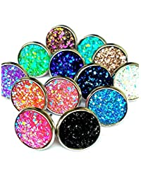 20pairs lot 12mm stainless steel Agate Druzy Geode Stud Earrings