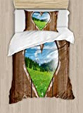 Ambesonne Outhouse Duvet Cover Set Twin Size, Heart Window View from Wooden Rustic Farm Barn Shed with Chalk Art Image, Decorative 2 Piece Bedding Set with 1 Pillow Sham, Brown Blue and Green