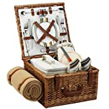 Picnic at Ascot Cheshire English-Style Willow Picnic Basket with Service for 2 and Blanket - Santa Cruz