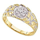 Mens Diamond Nugget Ring 10k White Yellow Gold Band Fashion Style Round Flower Cluster Set Fancy 1/20 ctw