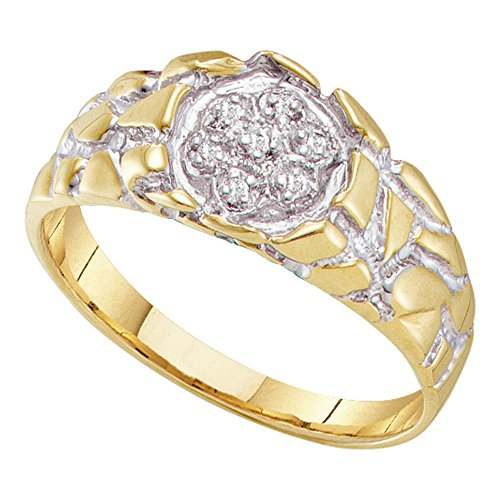 (Mens Diamond Nugget Ring 10k White Yellow Gold Band Fashion Style Round Flower Cluster Set Fancy 1/20 ctw)