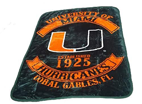 The Northwest Company Officially Licensed NCAA Miami Hurricanes Plush Raschel Throw Blanket, 60