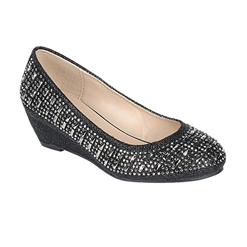Link FP81 Girl's Slip On Rhinestone Wrapped Wedge Heel Party Shoes