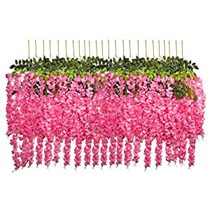 U'Artlines 24 Pack 3.6 Feet/Piece Artificial Fake Wisteria Vine Ratta Hanging Garland Silk Flowers String Home Party Wedding Decor Extra Long and Thick (24, Pink) 57