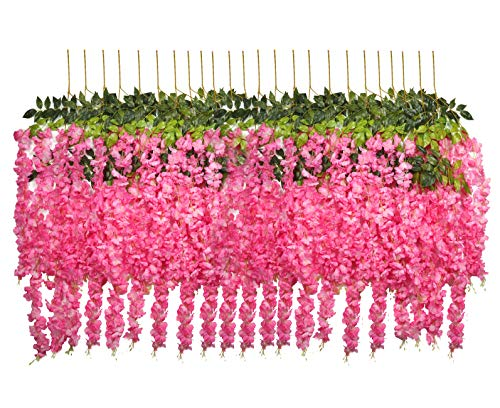 U'Artlines 24 Pack 3.6 Feet/Piece Artificial Fake Wisteria Vine Ratta Hanging Garland Silk Flowers String Home Party Wedding Decor Extra Long and Thick (24, Pink)