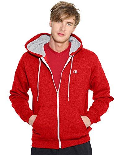 Champion Men's Full-zip Eco Fleece Jacket Hoodie, Crimson, Large