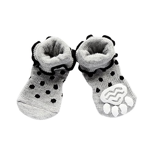 Knit Dog Booties - HOMEDECO Puppy Dog Pets Non-Slip Socks Booties Hot Slippers Knit Socks Bottom (L, B)