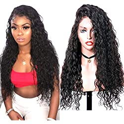 Glueless Lace Front Wigs Long Narural Curly High Density Synthetic Lace Wigs For Women With Baby Hair Natural Hairline Realistic Looking Heat Resistant Fiber Hair Wig Half Hand Tied 20inch