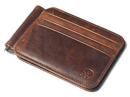 Men's Leather Slim Spring Money Clip Wallet Front Pocket Credit Card Case Holder (Dark brown)