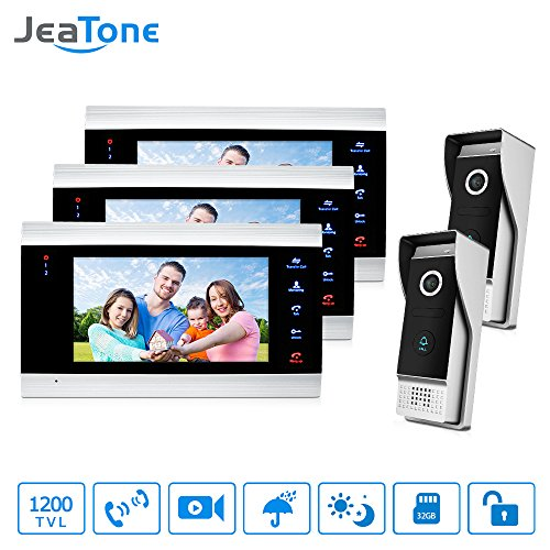 Jeatone Video Door Phone Intercom System Multi-unit Apartment Intercom Entry Kit, 7 Inch Video Doorbell Camera Units For Apartment 3V2, Support Monitoring, Unlock,IR Night (Analog Door Phone)