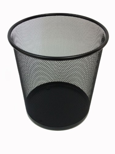 - Buddy Products Mesh Round Wastepaper Basket, 10.5 x 10.5 x 11 Inches, Black (ZD023-4)