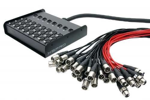 XSPRO 24 X 8 Channel 100' Pro Audio Low Profile Stage Box Snake Cable 24x8x100 by XSPRO