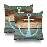 Soopat Decorative Pillows Covers 18''X18'' Set Of 2 Two Sides Printed Nautical Anchor Weathered Wood Coastal Themed Throw Pillow Cases Decorative Home Decor Indoor/Outdoor Nice Gift Kitchen Garde