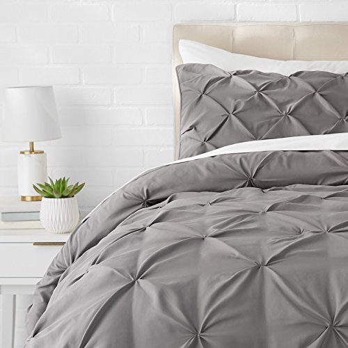 AmazonBasics Pinch Pleat Comforter Bedding Set, Twin, Dark Grey