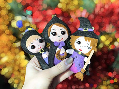 Set of Felt Witches Plush Halloween Decor Gift for Baby Unique Soft Toy Party Decoration Witch Hat Christmas Ornaments]()