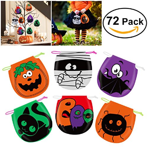 72 Pack Mini Halloween Drawstring Bag Halloween Treat Bags Goody Bags Candy