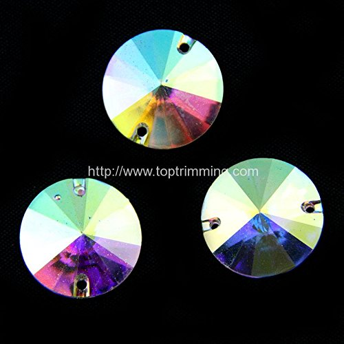 Crystal AB Flat Back Pointed Round Shape 18MM Resin stone Sew on or glue on Gems Selling per pack/96 pcs by Top Trimming
