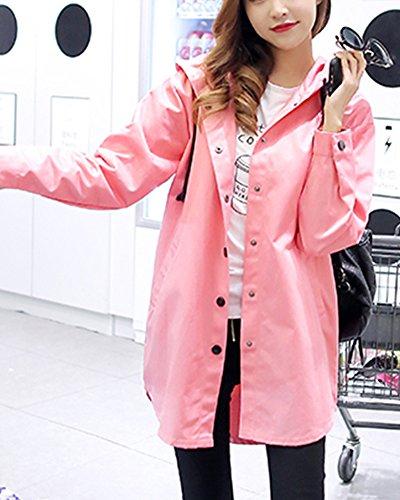 Femmes Veste Manteaux Dsinvolte Lache pink Manteau Trench Section Encapuchonn Longue qSwqatrf