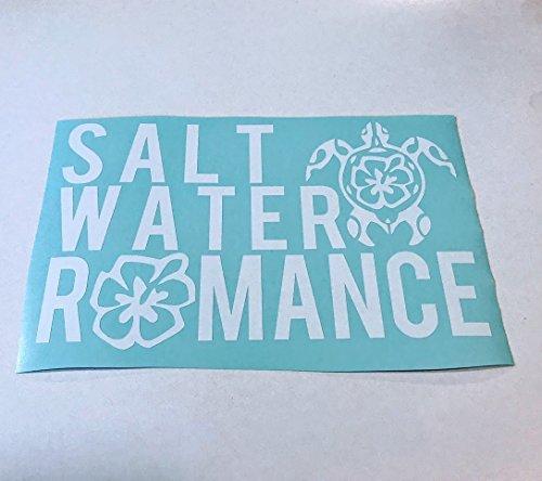 (Salt Water Romance Hibiscus Turtle White Vinyl Decal)