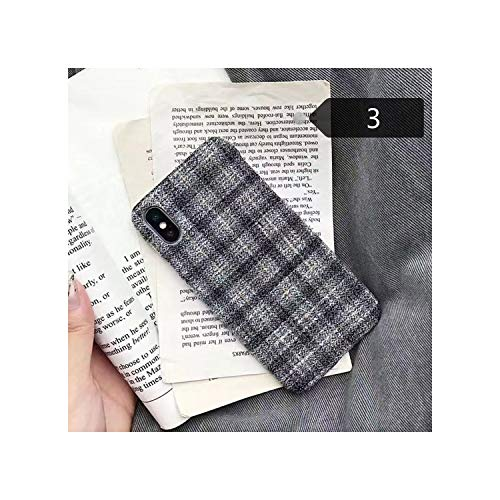 Cloth Grid Phone Case Lattice Cute Fashion Soft Back Cover Cases for iPhone 10 X Xs Max Xr 8 7 6S 6 Plus,for iPhone 7,3 Gray -  jimwili