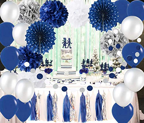 Navy and Silver 2019 Graduation Party Decorations, Navy Wedding Decorations Latex Ballons Silver Polka Dot Paper Fans for Boy First Birthday Decoration/Navy Silver Bridal Shower Decorations -
