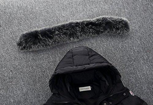 Ohmais Unisex Jungen Mädchen Winter Down Jacket verdickte Winterjacke Jungen Mantel verdickte Trenchcoat Jungen Outerwear mit Kapuzen Schwarz 2iOJpV