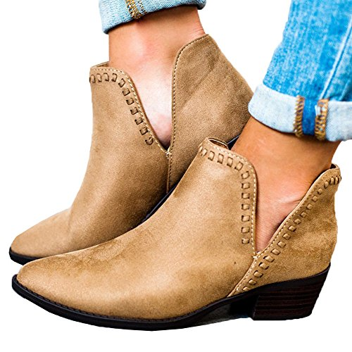 Kootk Boots for Women Ankle Winter Autumn Cut Out Stacked Mid Low Heel Western Side Zipper Pointed Toe Booties Brown dLsyIquG
