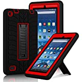 """Fire 7"""" (2015 Release) Case, Elegant Choise Heavy Duty Three Layer Armor Defender Protective Case Cover with Kickstand for Amazon Fire 7 2015 (5th Generation) Tablet (Red+Black)"""