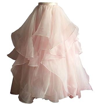 831dd4d03 flowerry Tiered Ruffle Organza Skirt Detachable Wedding Bridal Skirt for  Women Ball Gown (XS,