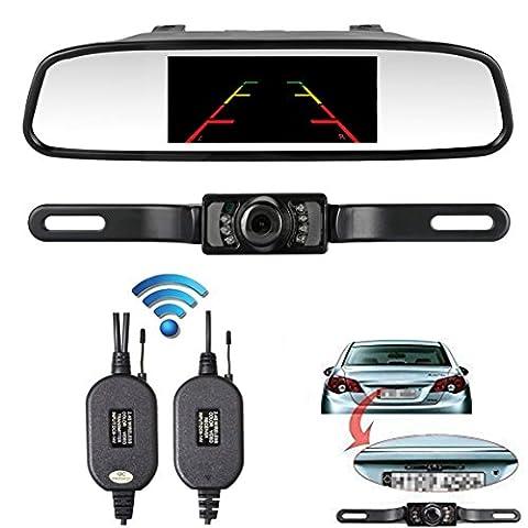 ZSMJ Backup camera Wireless and 4.3inch Mirror Monitor Kit 9V-24V Rear view camera parking system for Car vehicle RV Night Vision - Rear View Backup Camera System