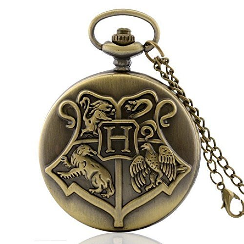 Antique Bronze Harry Potter Pocket Watch Necklace Pendant Chain Quartz Gift New (Costume Pocket Watch)