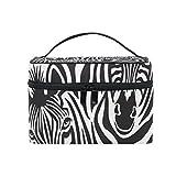OREZI Large Cosmetic Bag Multifunction MakeUp Bag Portable Zip Travel Cosmetic Brush Bag Organizer Zebra Couple Black Storage Bag for Girl Woman