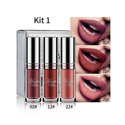 Jujunx 3Pcs/Set Sexy Long Lasting Waterproof Ultra Matte Liquid Lip Gloss Beauty Makeup (A) (24 Matt)
