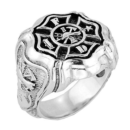 Men's 925 Sterling Silver Maltese Cross Firefighter Ring (Size (Sterling Silver Maltese Cross)