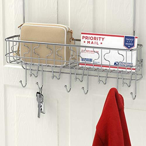 (Simple Houseware Over The Door Hook Shelf Organizer 11 Hooks with Basket Storage Rack, Chrome)